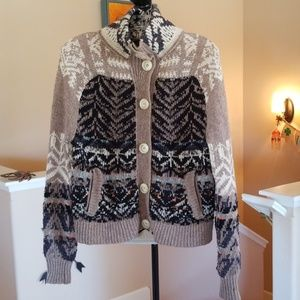 Free People Nordic Chunky Button Boho Sweater XS